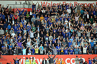 FAO SPORTS PICTURE DESK<br /> Pictured: Delighted Everton supporters celebrating. Saturday, 24 March 2012<br /> Re: Premier League football, Swansea City FC v Everton at the Liberty Stadium, south Wales.