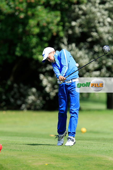 Rhys Goodall (Hilton Fitzpatrick) on the 11th tee during the Irish Boys Under 13 Amateur Open Championship in Malahide Golf Club on Monday 11th August 2014.<br /> Picture:  Thos Caffrey / www.golffile.ie