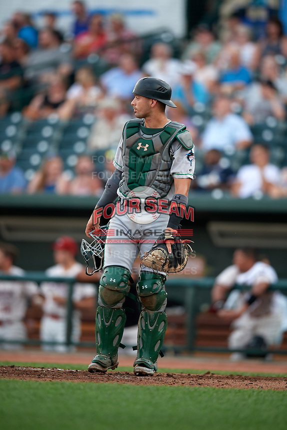 Clinton LumberKings catcher Will Banfield (11) during a Midwest League game against the Great Lakes Loons on July 19, 2019 at Dow Diamond in Midland, Michigan.  Clinton defeated Great Lakes 3-2.  (Mike Janes/Four Seam Images)
