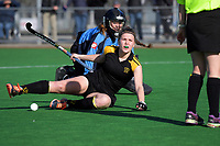 Action from the National Women's Association Under-18 Hockey Tournament 5th place playoff match between Wellington and Hawkes Bay at Twin Turfs in Clareville, New Zealand on Saturday, 15 July 2017. Photo: Dave Lintott / lintottphoto.co.nz