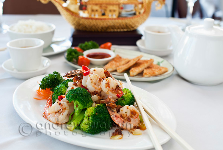 Stir-fried prawns with broccoli at Golden Boat Chinese Restaurant,  Cairns, Quensland, Australia