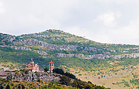 the monastery Gracanica on the historic hill known as Crkvina against a mountain backdrop. Trebinje. Republika Srpska. Bosnia Herzegovina, Europe.
