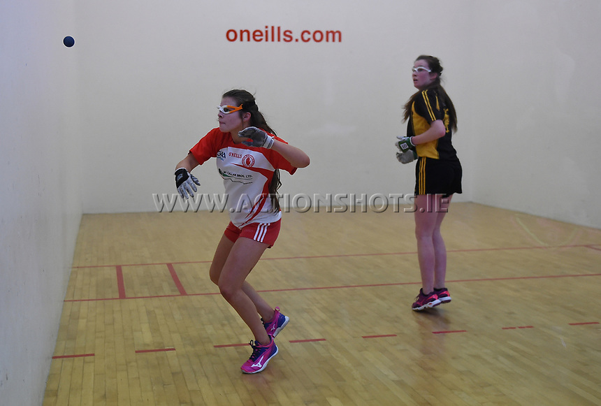 19/03/2018; 40x20 All Ireland Juvenile Championships Finals 2018; Kingscourt, Co Cavan;<br /> Girls Under-16 Singles; Kilkenny (Rois&iacute;n O&rsquo;Keefe) v Tyrone (Mairead Fox)<br /> Photo Credit: actionshots.ie/Tommy Grealy