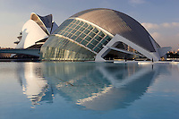 The Hemisphere, with The Palau de les Arts (The Arts Palace) in the distance, City of Arts and Sciences ; 1998 ; Santiago Calatrava, Valencia, Comunidad Valenciana, Spain Picture by Manuel Cohen