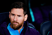 6th February 2019, Camp Nou, Barcelona, Spain; Copa del Rey football semi final, 1st leg, Barcelona versus Real Madrid; Lionel Messi of FC Barcelona starts on the bench due to injury worries