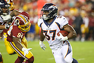 Landover, MD - August 24, 2018: Denver Broncos running back Royce Freeman (37) runs the ball during the preseason game between Denver Broncos and Washington Redskins at FedEx Field in Landover, MD.   (Photo by Elliott Brown/Media Images International)