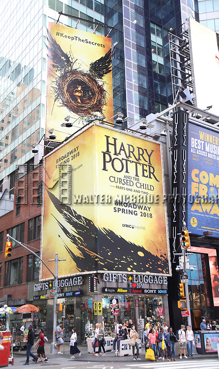 Times Square Billboard  for the new Broadway show 'Harry Potter and the Cursed Child' on September 22, 2017 in Times Square, New York City.