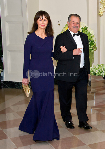 Andrew Liveris, Chairman &amp; Chief Executive Officer, The Dow Chemical Company, and Paula Liveris arrive for the State Dinner in honor of Prime Minister Trudeau and Mrs. Sophie Gr&Egrave;goire Trudeau of Canada at the White House in Washington, DC on Thursday, March 10, 2016.<br /> Credit: Ron Sachs / Pool via CNP/MediaPunch