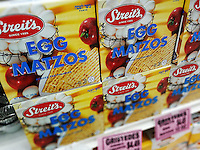 Boxes of Streit's brand egg matzos, kosher for Passover, in a supermarket in New York on Tuesday, April 5, 2016. Passover arrives on the evening of Friday, April 22, 2016. (© Richard B. Levine)