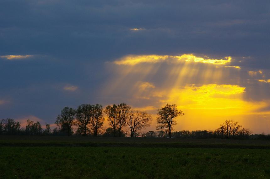 Beautiful sunset sky in Arkansas County, Arkansas
