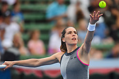 12th January 2018,  Kooyong Lawn Tennis Club, Kooyong, Melbourne, Australia; Priceline Pharmacy Kooyong Classic tennis tournament; Andrea Petkovic of Germany serving to Belinda Bencic of Switzerland during the Women's final of the Kooyong Classic