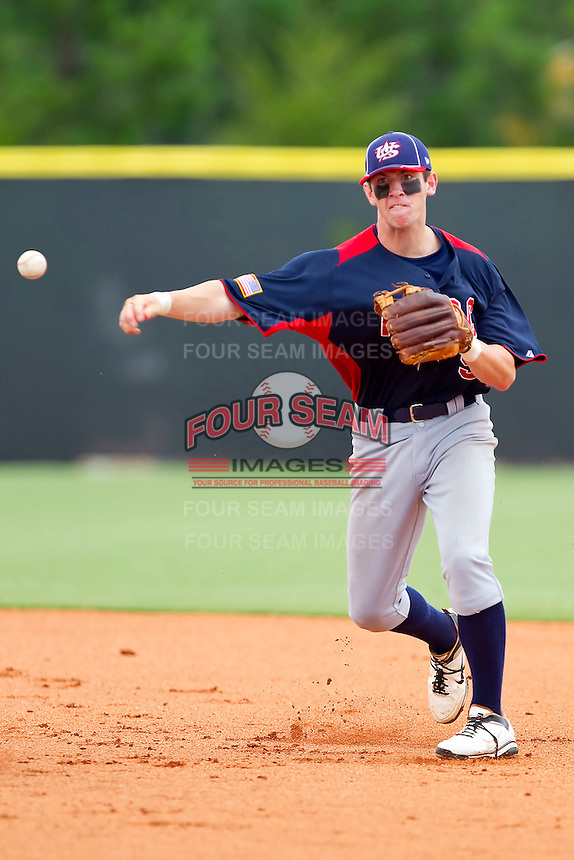 Shortstop Mikey White #5 of AABC makes a throw to first base against Dixie at the 2011 Tournament of Stars at the USA Baseball National Training Center on June 25, 2011 in Cary, North Carolina.  The AABC defeated Dixie 4-2.  (Brian Westerholt/Four Seam Images)