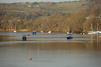 Pictured: Boats in river Teifi<br /> Re: The town of Cardigan in west Wales will be temporarily renamed Jumper tomorrow (Thursday).