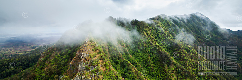 Clouds brush over the peaks of the Wai'anae Mountains, West O'ahu.
