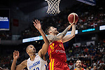 Juancho Hernangomez of Spain and Elis Baez of Dominican Republic during the Friendly match between Spain and Dominican Republic at WiZink Center in Madrid, Spain. August 22, 2019. (ALTERPHOTOS/A. Perez Meca)