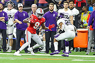 Indianapolis, IN - December 1, 2018: Ohio State Buckeyes wide receiver Binjimen Victor (9) makes a move during the Big Ten championship game between Northwestern  and Ohio State at Lucas Oil Stadium in Indianapolis, IN.   (Photo by Elliott Brown/Media Images International)