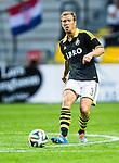 Solna 2014-07-24 Fotboll Europa League AIK - Linfield FC :  <br /> AIK:s Per Karlsson i aktion <br /> (Foto: Kenta J&ouml;nsson) Nyckelord:  AIK Gnaget Friends Arena Linfield LFC Europa League Kval portr&auml;tt portrait