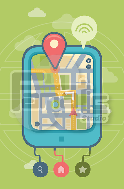 Illustration of GPS on digital tablet