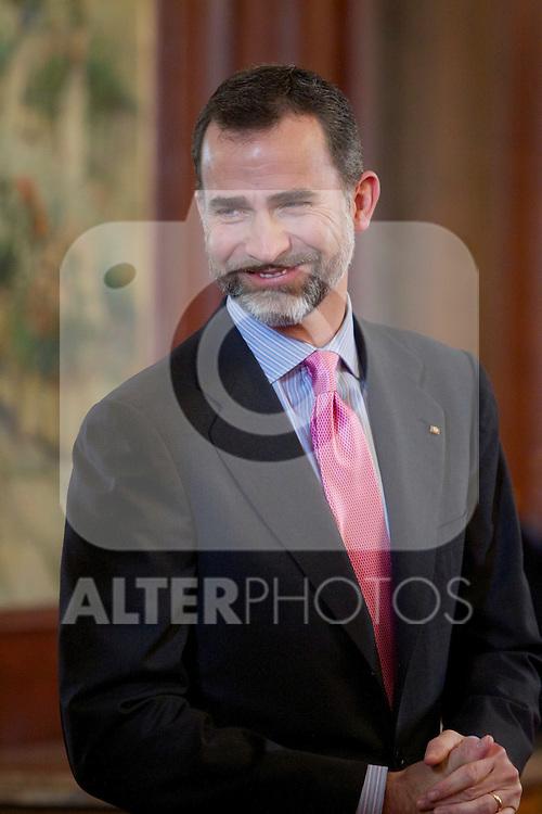 Spain's crown Prince Felipe de Borbon during the closing ceremony of the Spanish German forum. {monthname} {day0}, {year4}. (ALTERPHOTOS/Alvaro Hernandez)