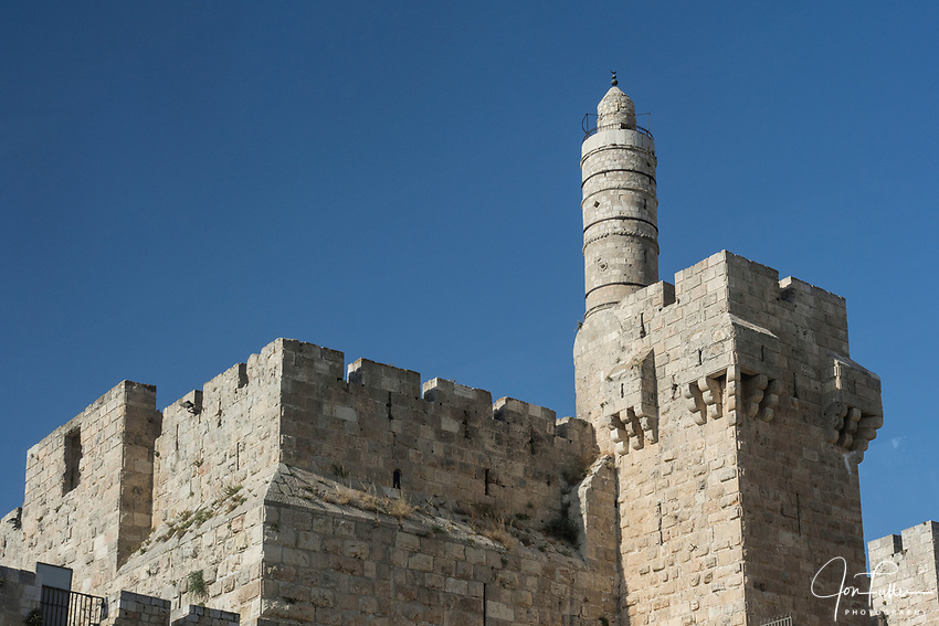 The minaret of the Tower of David or the Citadel in the Armenian Quarter of the Old City of Jerusalem.  The Old City of Jerusalem and its Walls is a UNESCO World Heritage Site