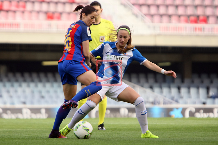 Spanish Women's Football League Iberdrola 2016/17 - Game: 21.<br /> FC Barcelona vs RCD Espanyol: 5-0.<br /> Vicky Losada vs Carola Garcia.