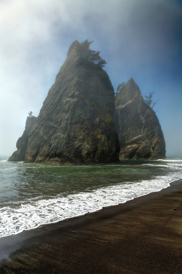 Sea stack in fog, Rialto Beach, Olympic National Park, Washington State, USA