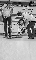 Glasgow. SCOTLAND. Scotland's  &quot;Skip&quot;  Eve MUIRHEAD, releases  the &quot;Stone&quot; as it move away from the &quot;Hog Line&quot; during the Le Gruy&egrave;re European Curling Championships. 2016 Venue, Braehead  Scotland<br /> Sunday  20/11/2016<br /> <br /> [Mandatory Credit; Peter Spurrier/Intersport-images]