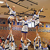 The Hauppauge varsity cheerleaders perform during a competition held at Hauppauge High School on Saturday, Jan. 21, 2017.