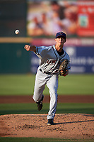 Lancaster JetHawks starting pitcher Logan Longwith (12) delivers a pitch during a California League game against the Inland Empire 66ers at San Manuel Stadium on May 19, 2018 in San Bernardino, California. Inland Empire defeated Lancaster 9-6. (Zachary Lucy/Four Seam Images)