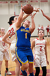 WINSTED,  CT-021919JS11- Gilbert's Jillian Wexler (1) is fouled by Northwestern's Natalie Lederman (22) while putting up a shot during their Berkshire League semi-final game Tuesday at Northwestern Regional High School in Winsted. <br /> Jim Shannon Republican American