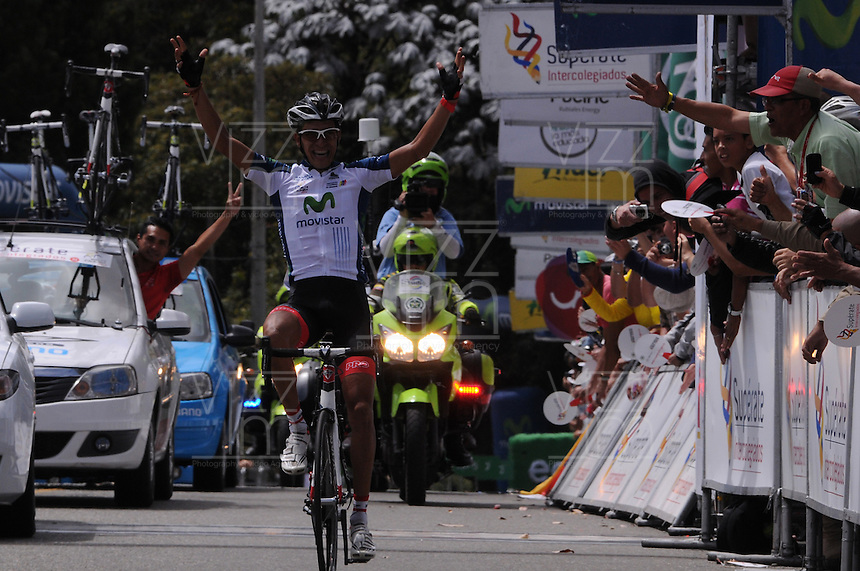 MEDELLÍN -COLOMBIA-21-06-2013. Jonathan Millán, del equipo GW Shimano ganó la décima tercera etapa de la Vuelta a Colombia Supérate 2103 que se cumplió entre Medellín y el alto de Santa Helena con un recorrido de 133 Km./ Jonathan Millan of GW Shimano team won the 13th stage of Vuelta a Colombia Superate 2013 made between Medellin and St Helena High with a distance of 133 Km.  Photo: VizzorImage/Luis Ríos/STR