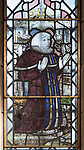Medieval stained glass window, Holy Trinity church, Long Melford, Suffolk, England - John Haugh, judge
