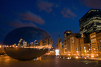"Looking south at Cloud Gate with, Michigan Avenue and Chicago's skyline at dusk. The architecture of Chicago has influenced and reflected the history of American architecture. The city of Chicago, Illinois features prominent buildings in a variety of styles by many important architects. Since most buildings within the downtown area were destroyed by the Great Chicago Fire in 1871, Chicago buildings are noted for their originality rather than their antiquity..Beginning in the early 1880s, architectural pioneers of the Chicago School explored steel-frame construction and, in the 1890s, the use of large areas of plate glass. These were among the first modern skyscrapers and amongst their most famous architects were William LeBaron, John Wellborn Root Sr., Daniel Burnham and Charles Atwood. Louis Sullivan was perhaps the city's most philosophical architect. Realizing that the skyscraper represented a new form of architecture, he discarded historical precedent and designed buildings that emphasized their vertical nature. This new form of architecture, by Jenney, Burnham, Sullivan, and others, became known as the ""Commercial Style,"" but it was called the ""Chicago School"" by later historians..Since 1963, a ""Second Chicago School"" emerged, largely due to the ideas of structural engineer Fazlur Khan. Some of Chicago's skyscrapers such as the John Hancock Center, Willis Tower (formerly known as the Sears Tower) and The Trump International Hotel and Tower are amongst the tallest buildings in the world."