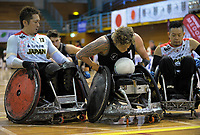 Cameron Leslie breaks through the defence to score during the 2017 International Wheelchair Rugby Federation Asia-Oceania Zone Championships tournament match between the New Zealand Wheel Blacks and Japan at ASB Stadium in Auckland, New Zealand on Thursday, 31 August 2017. Photo: Dave Lintott / lintottphoto.co.nz