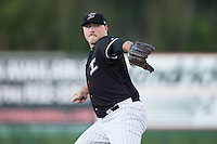 Kannapolis Intimidators relief pitcher Drew Hasler (35) in action against the Augusta GreenJackets at Intimidators Stadium on May 30, 2016 in Kannapolis, North Carolina.  The GreenJackets defeated the Intimidators 5-3.  (Brian Westerholt/Four Seam Images)