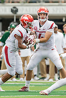 NWA Democrat-Gazette/BEN GOFF @NWABENGOFF<br /> Ty Storey, Arkansas quarterback, hands off to running back Devwah Whaley in the 1st quarter vs Colorado State Saturday, Sept. 8, 2018, at Canvas Stadium in Fort Collins, Colo.