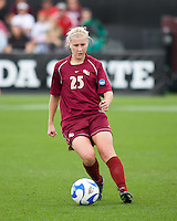 FSU forward Sanna Talonen (25) dribbles the ball.  The University of Southern California defeated Florida State University 2-0 to win the 2007 women's NCAA College Cup in College Station, TX on December 9, 2007.