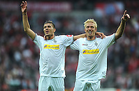 FUSSBALL   1. BUNDESLIGA  SAISON 2011/2012   1. Spieltag FC Bayern Muenchen - Borussia Moenchengladbach           07.08.2011 JUBEL nach dem Sieg  Roman Neustaedter, Mike Hanke (v. li., Borussia Moenchengladbach)