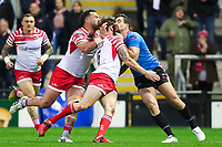 Picture by Alex Whitehead/SWpix.com - 11/05/2018 - Rugby League - Ladbrokes Challenge Cup - Leigh Centurions v Salford Red Devils - Leigh Sports Village, Leigh, England - Salford's Tyrone McCarthy is tackled by Leigh's Ben Reynolds and Bodene Thompson.