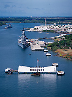 Arizona Memoral & USS Missouri Battleship, Aerial View, Pearl Harbor, Oahu, Hawaii, USA.