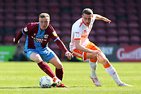 Scunthorpe United's Jordan Hallam gets away from Blackpool's Antony Evans<br /> <br /> Photographer David Shipman/CameraSport<br /> <br /> The EFL Sky Bet League One - Scunthorpe United v Blackpool - Friday 19th April 2019 - Glanford Park - Scunthorpe<br /> <br /> World Copyright © 2019 CameraSport. All rights reserved. 43 Linden Ave. Countesthorpe. Leicester. England. LE8 5PG - Tel: +44 (0) 116 277 4147 - admin@camerasport.com - www.camerasport.com