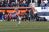 Cameron McGeehan of Luton Town shoots during the Sky Bet League 2 match between Luton Town and Crawley Town at Kenilworth Road, Luton, England on 12 March 2016. Photo by David Horn/PRiME Media Images.
