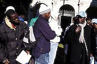 Roma, 2 Febbraio 2010.Piazza San Marco.Conferenza stampa dei lavoratori migranti di Rosarno dopo la cacciata dal paese.Press conference for the migrant workers  after the expulsion from Rosarno