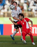 Alex Shinsky battles for the header. US Under-17 Men's National Team defeated United Arab Emirates 1-0 at Gateway International  Stadium in Ijebu-Ode, Nigeria on November 1, 2009.
