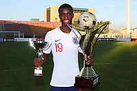 Edward Nketiah of Arsenal and England U21's proudly holds the Trophy and his Cup for being chosen for the best goal of the Tournament during Mexico Under-21 vs England Under-21, Tournoi Maurice Revello Final Football at Stade Francis Turcan on 9th June 2018