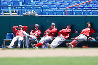 Redhawks enjoying a relaxing May afternoon May 5th, 2010; Oklahoma CIty Redhawks vs Omaha Royals at historic Rosenblatt Stadium in Omaha Nebraska.  Photo by: William Purnell/Four Seam Images