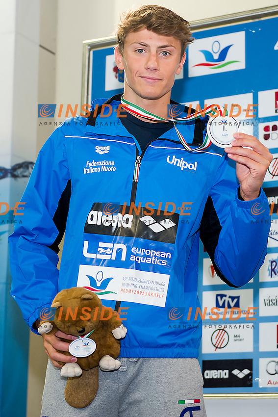 Martinenghi Nicolo ITA<br /> 50 Breaststroke Men Final Silver Medal<br /> LEN 43rd Arena European Junior Swimming Championships<br /> Hodmezovasarhely, Hungary <br /> Day03 08-07-2016<br /> Photo Andrea Masini/Deepbluemedia/Insidefoto