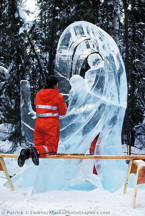 Ice sculptor shapes ice sculpture during the World Ice Art Championships held each march in Fairbanks, Alaska,