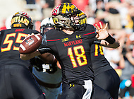 College Park, MD - SEPT 23, 2017: Maryland Terrapins quarterback Max Bortenschlager (18) throws down field during game between Maryland and UCF at Capital One Field at Maryland Stadium in College Park, MD. (Photo by Phil Peters/Media Images International)