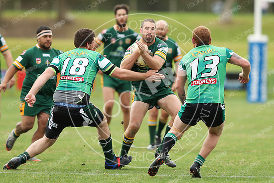 The Wyong Roos play Northern Lakes Warriors in Round 9 of the Open Age Central Coast Rugby League Division at Morry Breen Oval on 2nd June, 2018 in Kanwal, NSW Australia. (Photo by Paul Barkley/LookPro)